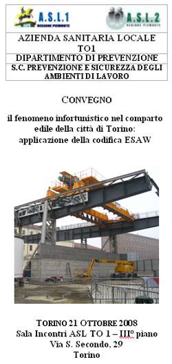 CONVEGNO Il fenomeno infortunistico nel comparto edile della città di Torino